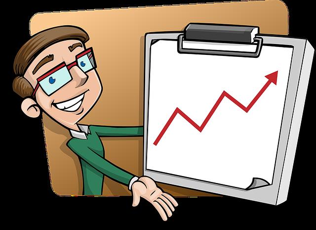kreslený mužík ukazující stoupající graf
